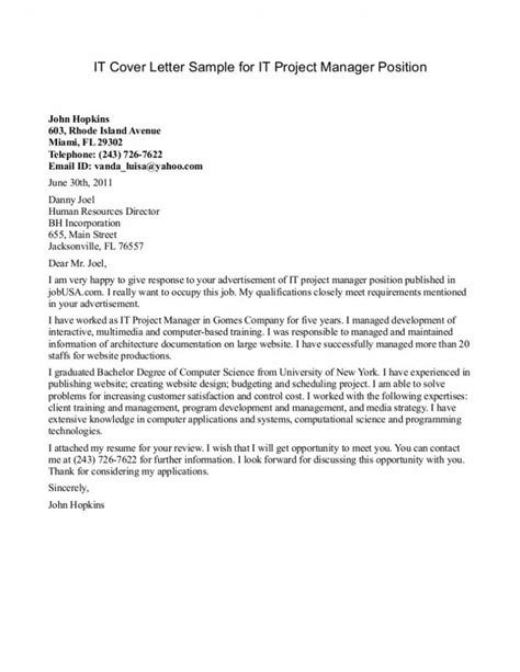 cover letter program manager cover letter writing