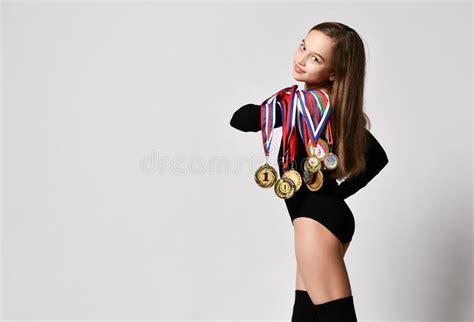 young girl  gymnastics trophy stock photo image