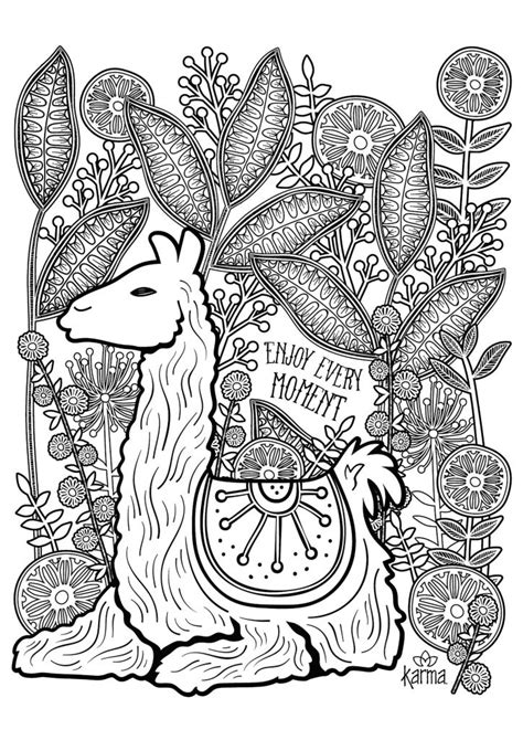 adult coloring pages animals llama