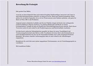 Bewerbung Nebenjob Schüler : bewerbung f r ferienjob muster und tipps ~ Eleganceandgraceweddings.com Haus und Dekorationen