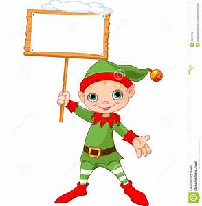 Christmas Elf with sign stock vector. Image of sign ...