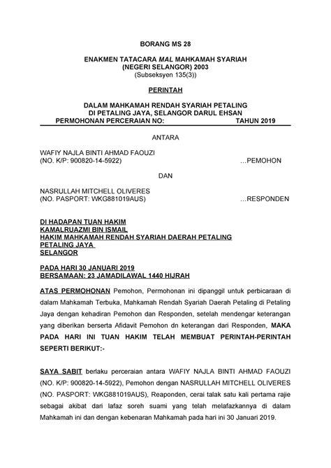 Lokman bin samian34, persiaran permai 5 perak darul ridzuan. Download Borang Permohonan Cerai Selangor