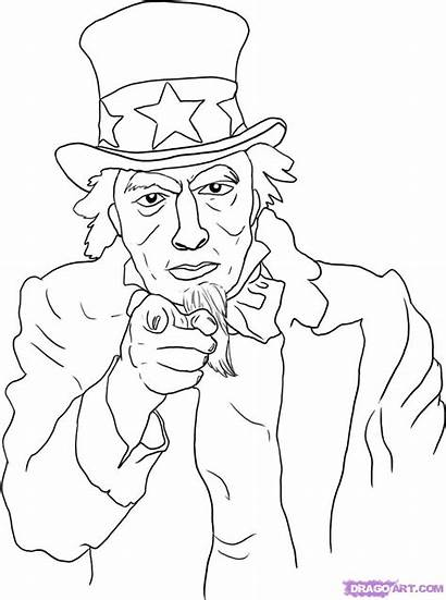 Uncle Sam Draw Drawing Coloring Step Am