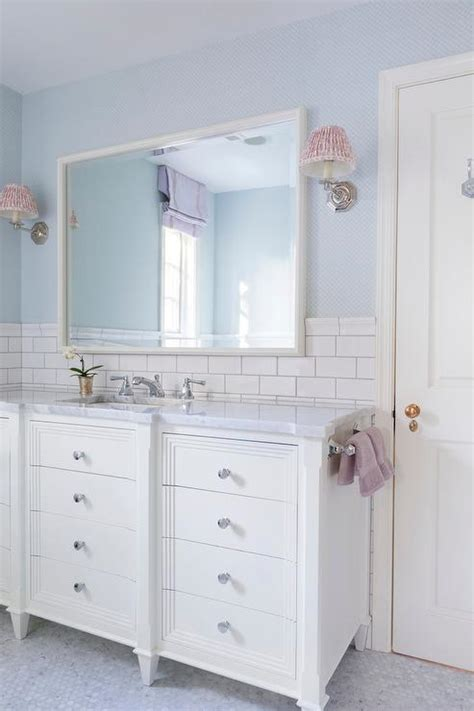 white  blue kids bathroom  lilac accents