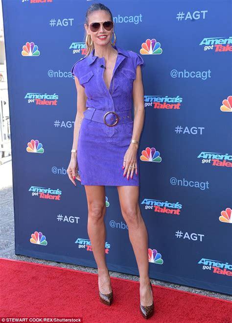 Heidi Klum Dons Purple Mini For America Got Talent Event