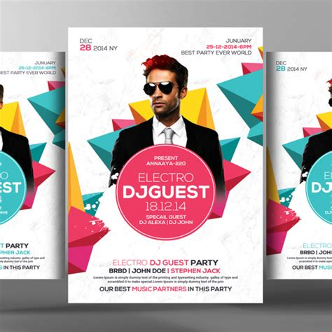 download graphicriver electro dj party flyer template 6502526 dj brochure template if design info