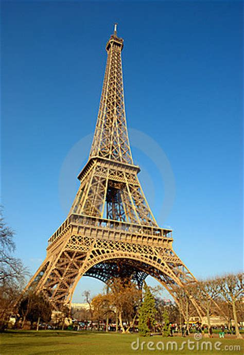 eiffel tower side view stock photo image