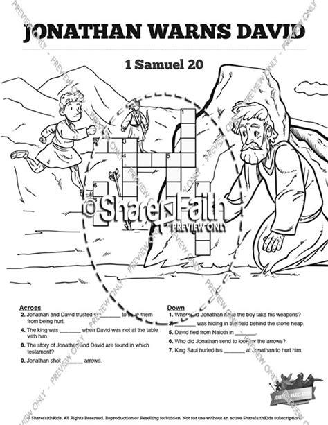 David En Jonathan Kleurplaat by 1 Samuel 20 David And Jonathan Sunday School Crossword Puzzles