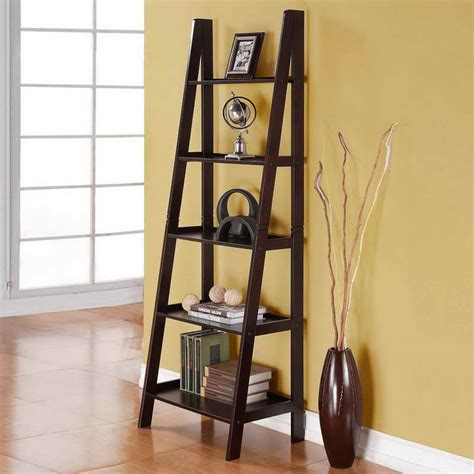 Leaning Shelf by Storage Leaning Shelves With Hardwood Floors Leaning