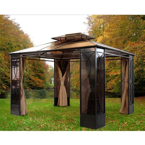 sunjoy gazebo upc 846822013787 sunjoy gazebos reflections 10 ft x 14 ft steel gazebo browns tans l