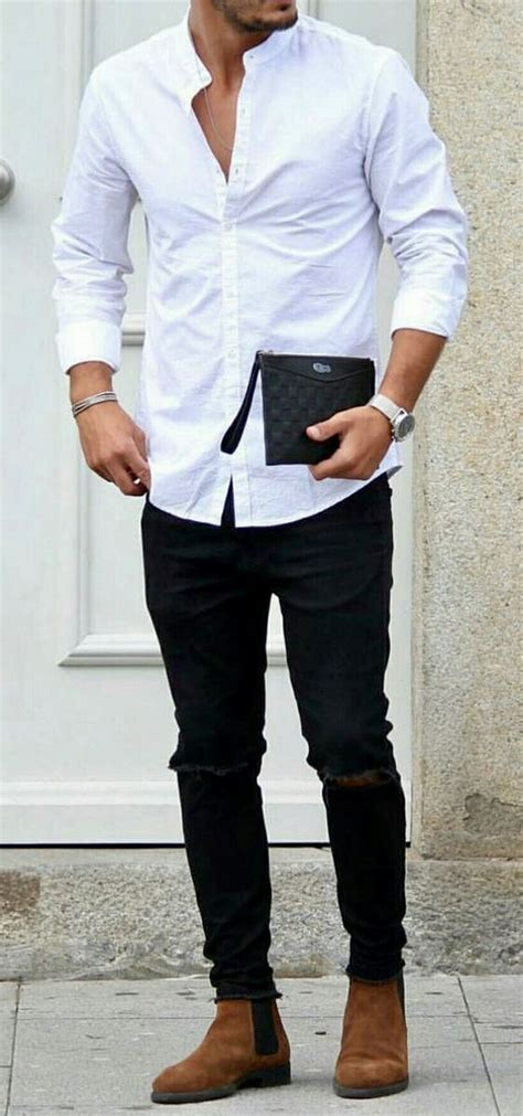 mens white opened button  shirt  black jeans