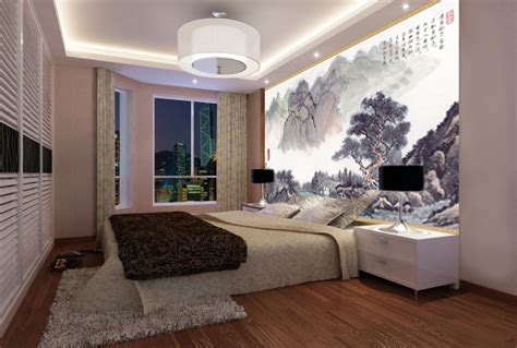 chambre style montagne tapisserie numérique sur mesure style chinois paysage avec