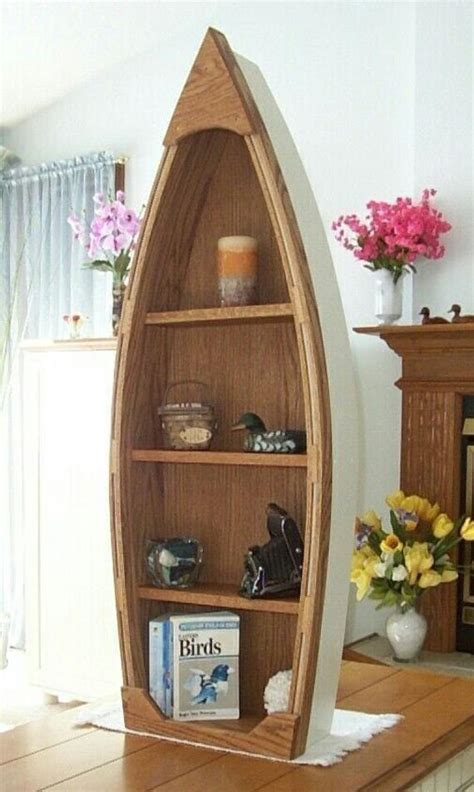 handcrafted  foot wood row boat bookcase shelf shelves canoe