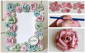 DIY paper rose flowers photo frame - Step by step - Step ...