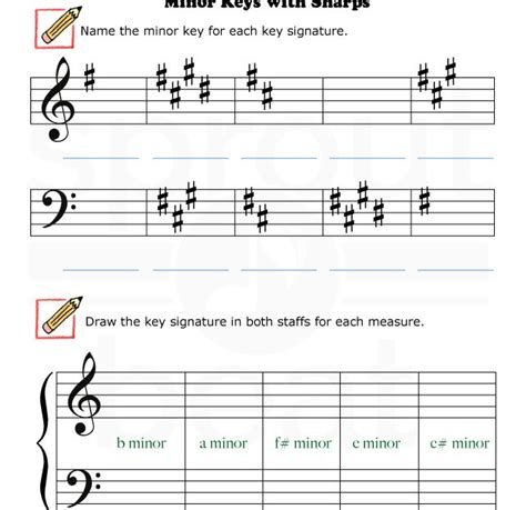 Fun And Learn Music » Music Worksheets  Minor Keys