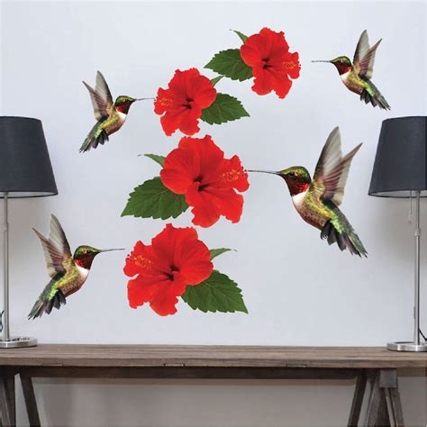 hummingbirds decal mural adhesives wall stickers