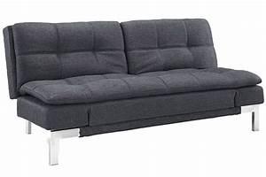 Simple modern futon sofa bed grey boca futon the futon shop for Contemporary convertible sofa bed