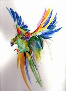 les 25 meilleures idees de la categorie aquarelle chat sur With nice toute les couleurs de peinture 6 peinture oiseau multicolore