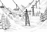 Ski Lodge Mountain Template Rysunek Olowkiem sketch template