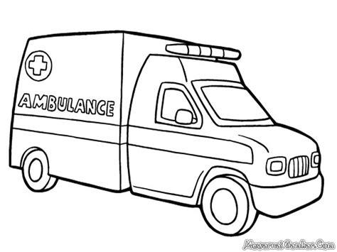 mewarnai mobil ambulance mewarnai gambar