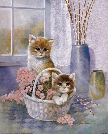 flower basket  cats fine art print  ruane manning