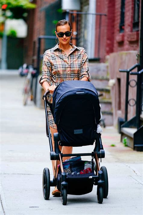 irina shayk dons plaid as she takes her daughter lea for a ...