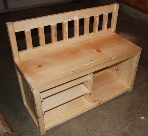 shoe rack bench wood shoe storage bench plans woodproject
