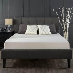 Upholstered Square Stitched Platform Bed-Grey Zinus