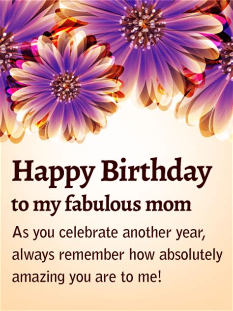 fabulous mom purple flower birthday card