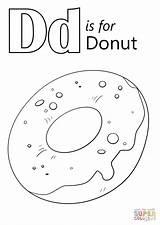 Donut Coloring Letter Printable Pages Worksheets Drawing Preschool Alphabet Dinosaur Worksheet Doughnut Sheet Bestcoloringpagesforkids Sheets Learning Dot Kindergarten Letters Crafts sketch template