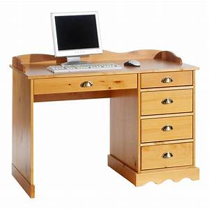 Bureau En Pin : bureau en pin massif colette avec corniche couleur miel mobil meubles ~ Teatrodelosmanantiales.com Idées de Décoration