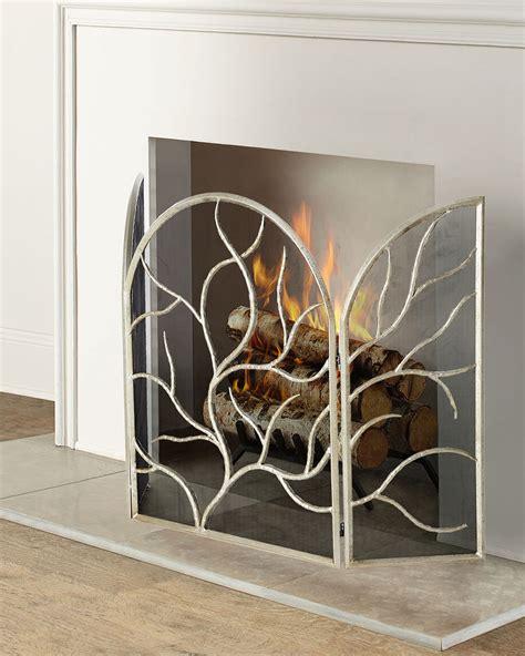 Three Panel Silver Leaf Fireplace Screen Neiman Marcus