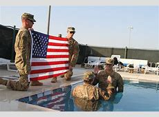 Taking the plunge Reservist reenlists in Camp Arifjan pool