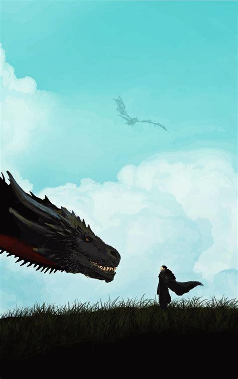 jon snow meets  dragon minimal hd  wallpaper