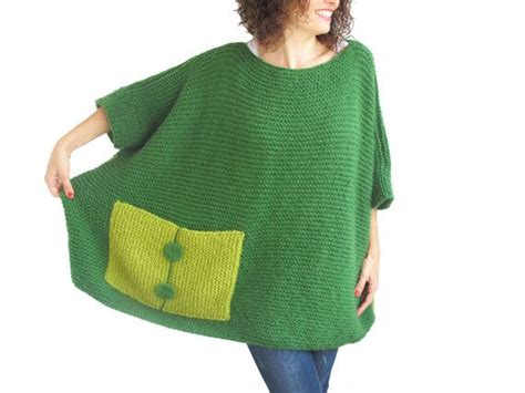Light Green Hand Knitted Sweater With Pocket Tunic
