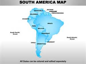 South America Continent Map with Countries