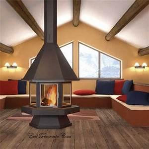 Cheminée Bois Design : cheminee centrale bois ~ Premium-room.com Idées de Décoration