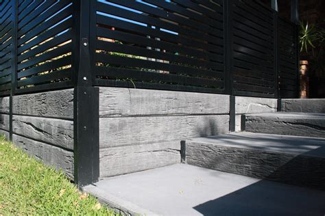 Retaining Wall Products by Timber Look Concrete Sleepers And Steel Posts With Steps