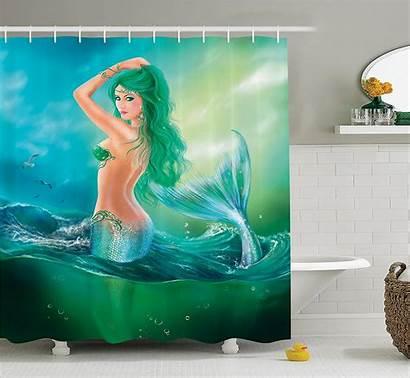 Mermaid Ocean Sea Waves Creatures Shower Curtain