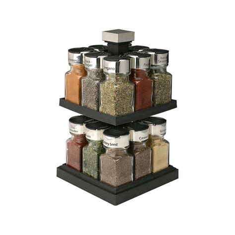 Revolving Spice Rack With 16 Spices by Olde Thompson 174 Square Rotating 16 Jar Spice Rack Ebay