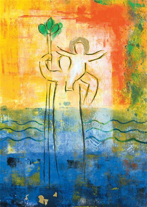 heiliger christophorus heilige kunst postkarten