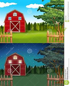 Red Barn In The Farm At Day And Night Stock Vector
