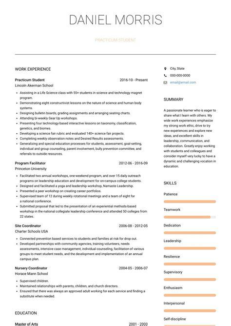 practicum student resume examples practicum student
