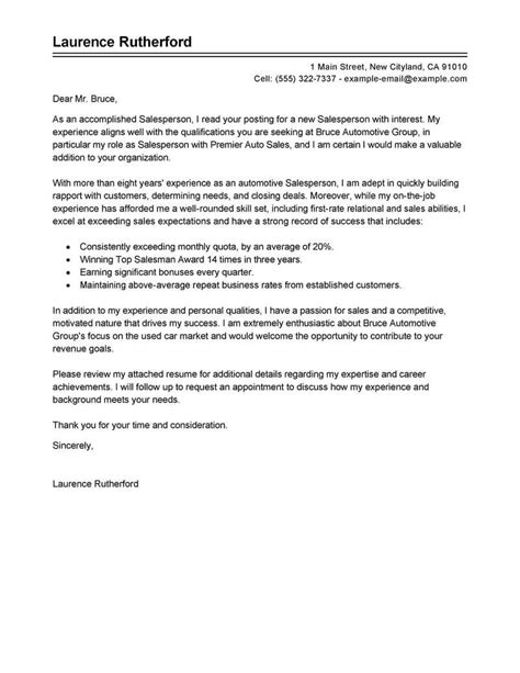 Cover Letter For Car Dealership by Best Automotive Salesperson Cover Letter Exles Livecareer