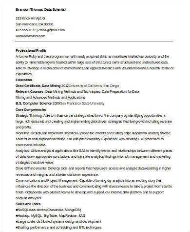 Data Scientist Resume by 7 Sle Data Scientist Resumes Pdf Word Sle