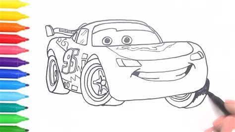 How To Draw & Color Cars 3 Lightning Mcqueen