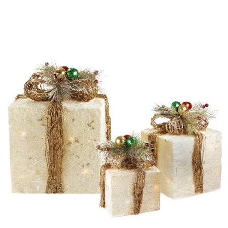 set of 3 lit gift boxes set of 3 sparkling chagne sisal gift boxes lighted yard decorations walmart