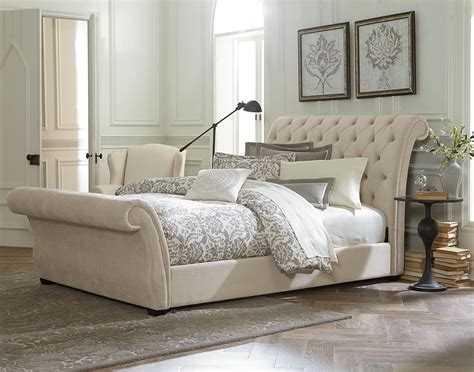 Bathroom Natural White Upholstered Sleigh Bed For Modern