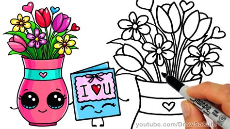 draw  vase  flowers  cute card step  step