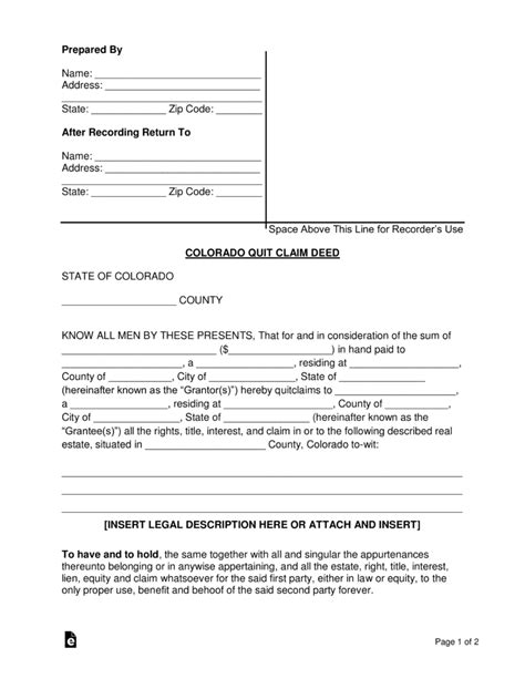 Trust Deed Template For Property In Colorado by Free Colorado Quit Claim Deed Form Word Pdf Eforms